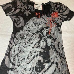 A grey and black alt T-shirt